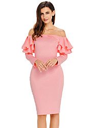 cheap -Women's Party Club Sexy Bodycon Dress,Solid Boat Neck Knee-length Long Sleeves Polyester Spandex Fall High Rise Stretchy Medium