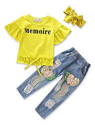 cheap -Girls' Solid Clothing Set, Cotton Spring Fall Short Sleeves Yellow