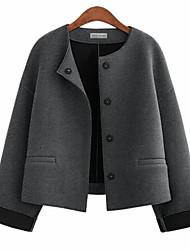 Недорогие -Жен. На выход Большие размеры Куртка Уличный стиль - Однотонный