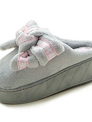 Women's Shoes Flocking PU Fall Comfort Slippers & Flip-Flops Creepers Round Toe Bowknot For Casual Gray Black