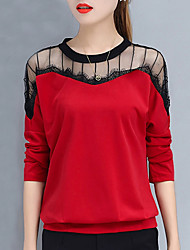 Women's Daily Sports Cute Active Spring Fall T-shirt,Solid Round Neck Long Sleeves Cotton