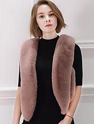cheap -Women's Daily Simple Casual Winter Fall Fur Coat,Solid V Neck Sleeveless Regular Cotton Rex Rabbit Fur