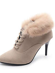 cheap -Women's Shoes Feather/ Fur Nubuck leather Spring Winter Comfort Fashion Boots Boots Stiletto Heel Pointed Toe Booties/Ankle Boots Lace-up