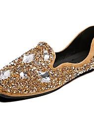 preiswerte -Damen Schuhe PU Winter Herbst Komfort Flache Schuhe Runde Zehe Kristall für Normal Schwarz Armeegrün Khaki