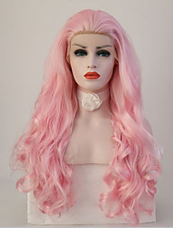cheap -Synthetic Lace Front Wig Body Wave Natural Hairline Pink Women's Lace Front Natural Wigs Long Synthetic Hair