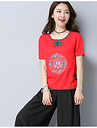 Women's Casual/Daily Simple T-shirt,Embroidery Round Neck Short Sleeves Linen