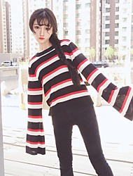 cheap -Women's Going out Club Cute Sexy Regular Pullover,Solid Striped Round Neck Long Sleeves Cotton Fall Medium Micro-elastic