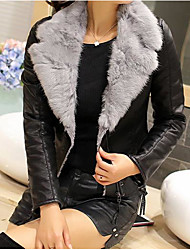 Women's Going out Street chic Winter Leather Jacket,Solid V Neck Long Sleeve Short Cashmere PU