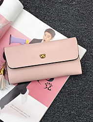 cheap -Women Bags PU Wallet Buttons for Casual All Seasons Black Red Blushing Pink Light Purple Brown