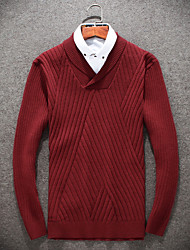 cheap -Men's Wool Pullover - Solid V Neck