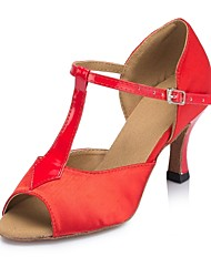 "cheap -Women's Latin Real Leather Silk Sandal Performance Buckle Cuban Heel Red 1"" - 1 3/4"" 2"" - 2 3/4"" 3"" - 3 3/4"" Customizable"