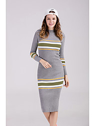 cheap -Women's Going out Sexy A Line Dress,Striped Stand Knee-length Long Sleeves Cotton Winter Fall Mid Rise Stretchy Medium
