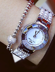 cheap -Women's Quartz Wrist Watch Japanese Casual Watch Stainless Steel Band Charm / Fashion White