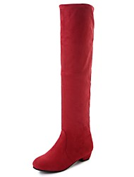 Women's Shoes PU Winter Comfort Fashion Boots Boots Low Heel Round Toe Knee High Boots For Casual Blue Red Brown Gray Black
