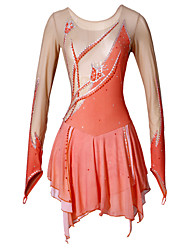 Women's Girls' Figure Skating Dress Ice Skating Dress Wearable Breathable Handmade Long Sleeves Indoor Performance Practise Dress High