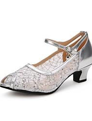 baratos -Mulheres Sapatos de Dança Latina Renda / Paetês / Tule Salto Gliter com Brilho / Presilha Salto Cubano Sapatos de Dança Dourado / Preto /