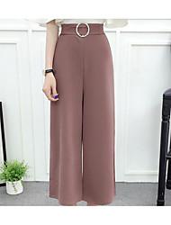 cheap -Women's Micro-elastic Wide Leg Pants, Casual Solid Summer