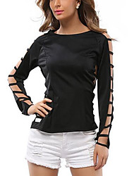 cheap -Women's Flare Sleeve Polyester T-shirt - Solid, Bow