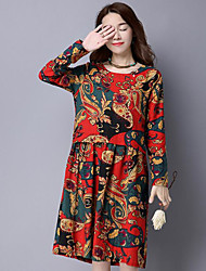 Women's Casual/Daily Vintage Little Black Dress,Floral Round Neck Knee-length 3/4 Length Sleeves Cotton Spring Fall Mid Rise Micro-elastic