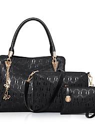 preiswerte -Damen Taschen PU Bag Set 3 Stück Geldbörse Set Reißverschluss für Normal Ganzjährig Blau Weiß Schwarz