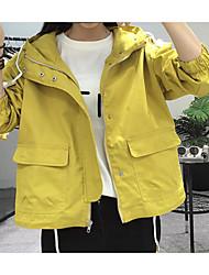 preiswerte -Damen Solide Einfach Lässig/Alltäglich Jacke,Mit Kapuze Herbst Lange Ärmel Standard Polyester