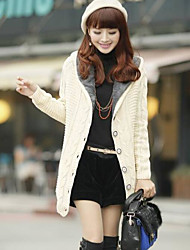 Women's Going out Regular Cardigan,Solid Hooded Long Sleeves Others Spring Winter Medium Micro-elastic
