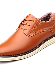 Men's Shoes Real Leather Fall Winter Comfort Oxfords Lace-up For Outdoor Light Brown Brown Black