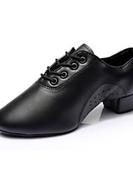 cheap -Men's Modern Shoes Faux Leather Split Sole / Sneaker Outdoor Chunky Heel Customizable Dance Shoes Black
