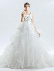 cheap -Ball Gown V-neck Cathedral Train Lace Satin Tulle Wedding Dress with Beading Appliques Flower(s) by LAN TING BRIDE®