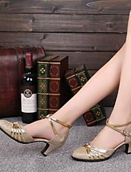 preiswerte -Damen Schuhe für modern Dance Glitzer Farbaufsatz Maßgefertigter Absatz Maßfertigung Tanzschuhe Gold / Rot / Innen