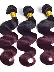 cheap -3 Bundles Brazilian Hair Body Wave Human Hair Natural Color Hair Weaves / Ombre Hair Weaves Human Hair Weaves Silky / Colors changing / Best Quality Human Hair Extensions