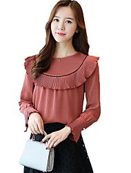 cheap -Women's Rayon Polyester Blouse - Solid, Ruffle Crew Neck