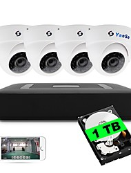 cheap -4CH 5-in-1 DVR Kits Built-in 1TB HDD 1080N 4pcs Dome CCTV Cameras Security System Indoor IR Day Night