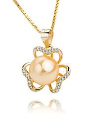 economico -Per donna Fiore decorativo Classico Elegant Collane con ciondolo Perle Perla Argento sterling Perle finte Perla d'oro Collane con ciondolo