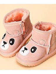 abordables -Chica Zapatos Cuero Otoño Invierno Primeros Pasos Botas de nieve Botas Para Casual Negro Fucsia Rosa Color Camello