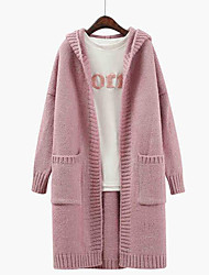 Women's Casual/Daily Regular Cardigan,Solid Hooded Long Sleeves Others Spring Fall Medium Micro-elastic