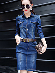 cheap -Women's Casual/Daily Work Simple Street chic Sophisticated Sheath Denim Dress,Solid Shirt Collar Above Knee Long Sleeves Polyester Others