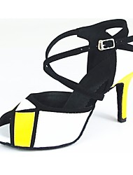 cheap -Women's Latin Shoes Leather Buckle Stiletto Heel Customizable Dance Shoes Golden / White / Performance