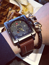 cheap -Men's Wrist Watch Chinese Calendar / date / day Leather Band Charm / Casual / Fashion Black / Brown / Stainless Steel