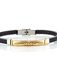preiswerte -Herrn Damen Edelstahl Leder Armband Lederarmbänder - Grundlegend Rock Kreisförmig Gold Schwarz Armbänder Für Ausgehen