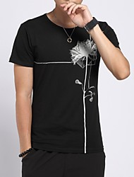 cheap -Men's Daily Casual T-shirt,Floral Round Neck Short Sleeves Cotton