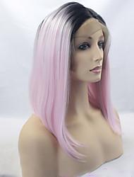 Femme Perruque Synthétique Lace Front Mi Longue Raide Noir / Rose Cheveux Colorés Racines foncées Au Milieu Perruque de Cosplay Perruque