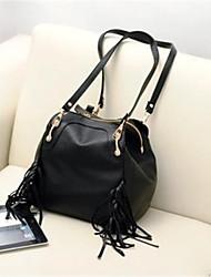 cheap -Women's Bags PU Shoulder Bag Zipper for Casual Black