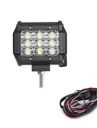 cheap -27W 2700LM 6000K 3-Rows LED Work Light Cool White Flood Offroad Driving Light for Car/Boat/Headlight IP68 9-32V  2m 1-To-1 Wiring Harness Kit
