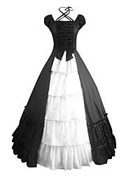 abordables -Une Pièce/Robes Doux Rétro Cosplay Vêtrements Lolita Noir Rétro Mancheron Manches Courtes Long Robe Pour Satin Coton