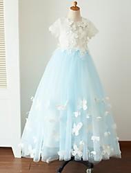 Robe de Soirée Longueur Sol Robe de Demoiselle d'Honneur Fille - Dentelle Tulle Manches Courtes Bijoux avec Boutons Fleur(s) Détail Perle