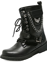 cheap -Men's Shoes Nappa Leather Winter Combat Boots Boots Lace-up For Outdoor Black
