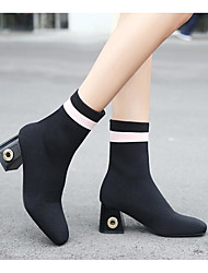 cheap -Women's Shoes Nubuck leather Fall Winter Fashion Boots Combat Boots Boots Chunky Heel Square Toe Booties/Ankle Boots For Casual Red Black