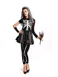 abordables -Cerveau Tenue Femme Halloween Le jour des morts Fête / Célébration Déguisement d'Halloween Noir Rétro