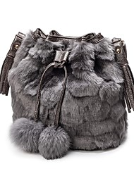 cheap -Women Bags Fur Shoulder Bag Zipper for Casual Outdoor All Seasons Black Gray Brown